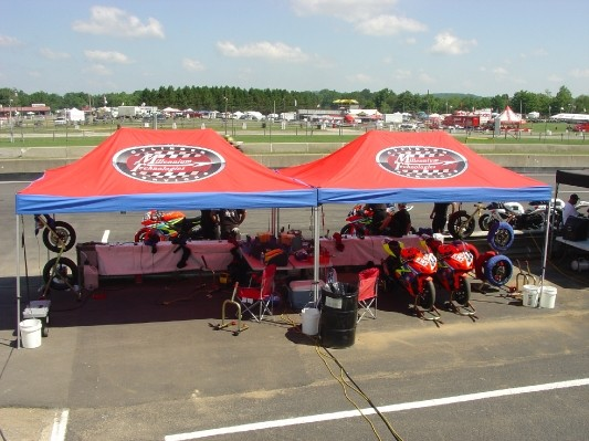 KWS Motorsports Pit Lane canopies & E-Z UP Shelters | Holliday Canopies