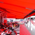 20ft wide solid red Hot Bodies Motorcycle racing awning